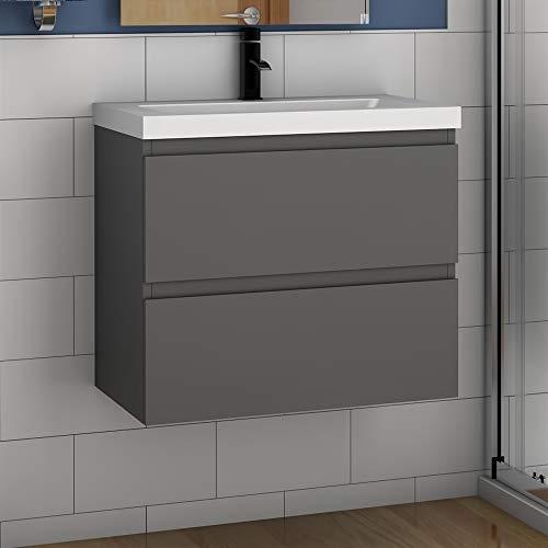 Badmöbel Set 60 cm Aalst Vormontieren Unterschrank Waschbecken Waschtisch Anthrazit