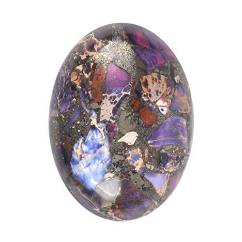 30x22mm Oval Cabochon CAB Flatback Semi-Precious Gemstone Ring Face (Purple Sea Sediment Jasper & Pyrite)