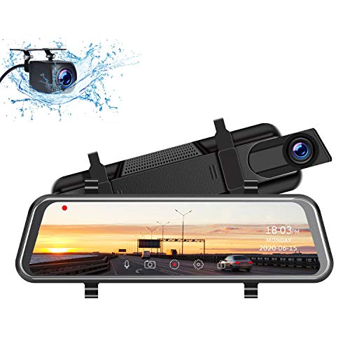 TOGUARD 2.5K Mirror Dash Cam for Cars with Waterproof Backup Camera, 10' IPS Full Touch Screen Car Camera Dual Dash Camera Front and Rear Rearview Mirror Cameras Night Vision Parking Assistance
