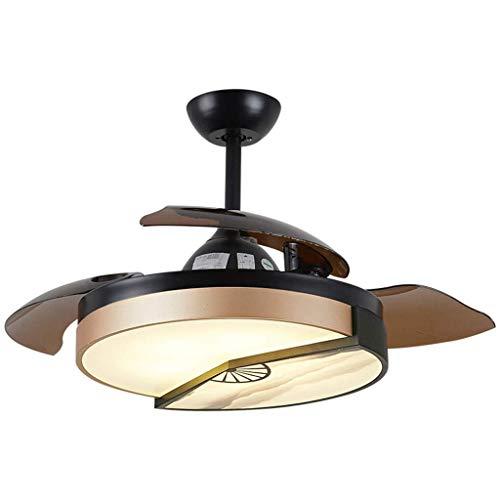 Lámpara de araña de luz LED, fuente de luz E36 x 2, fuente de luz regulable para sala de estar, comedor, hotel, ventilador [clase energética A +] (color: control de pared regulable), color: Di