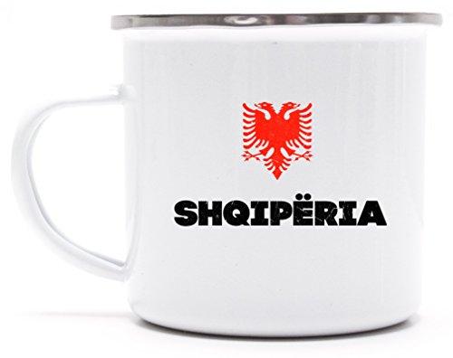 Länder Wappen Tirana Länder bedruckte Metalltasse Emaille Camping Tasse mit Spruch Motiv Flagge Albanien, Größe: onesize,weiß/silber