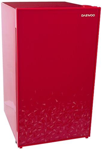 Daewoo FR-15D Frigobar Elegante con Puerta de Cristal Templado, 3.99 Pies Cúbicos, 113.00 L, rojo