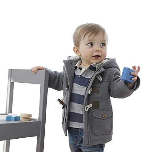 Lewego Unisex Baby Fleece Hooded Jacket Outerwear Duffle Zipper Winter Coat, Grey, 120cm(2-3Years)