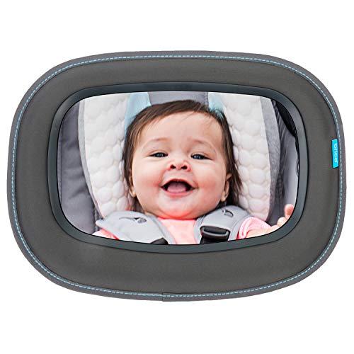 Brica by Munchkin Miroir Auto Bébé à Vue Dégagée Baby In-Sight, reflet de qualité supérieure et vaste angle de vue de bébé