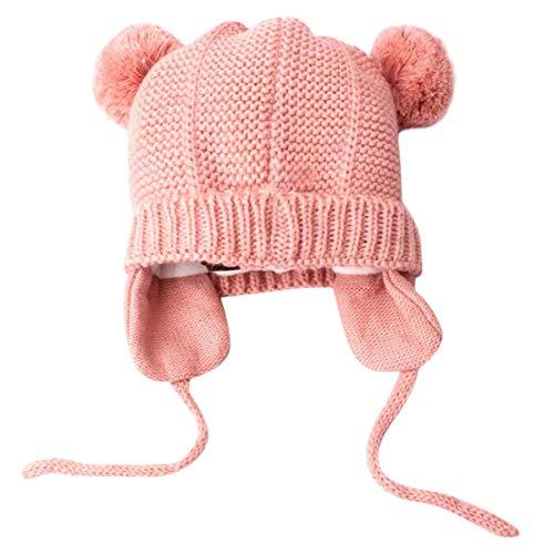 N /C Gorro de Invierno para bebé con Osito de Peluche. Lindo bebé Oso (Rosado, 3M-24M Baby)