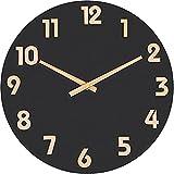 Foxtop Reloj de pared redondo elegante de madera sin tictac, silencioso, para decoración del hogar, salón, cocina, dormitorio, oficina, escuela (números arábigos negros)
