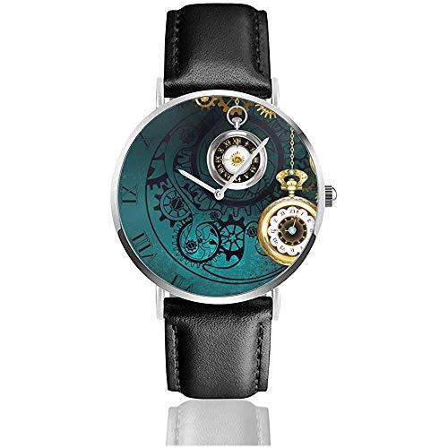 Steampunk-Schmuck, antike Uhr mit Goldketten auf grünem Strukturiertem Hintergrund. Lederband Armbanduhren
