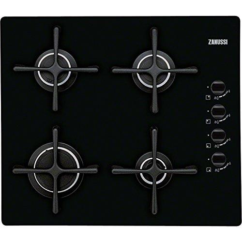 Zanussi ZGO63414BA Einbau-Gasherd schwarz – Platte (integriert, Gasherd, Glas, schwarz, 1000 W, 1900 W)