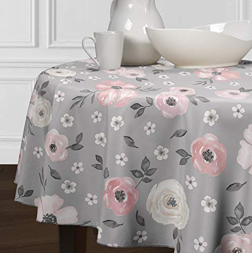 A LuxeHome Blush Pink Grey Beige Tan White Shabby Chic Watercolor Rose Floral Flower Small Overlay Cover Tabletop Tablecloth for Dining Room Kitchen Round 60""