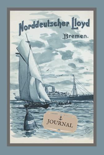 Journal: Carnet de notes, notebook, couverture rigide, Format A5 15,24 x 22,86 cm, 176 pages lignées sur papier crème 90g/m², illustration, bateau.