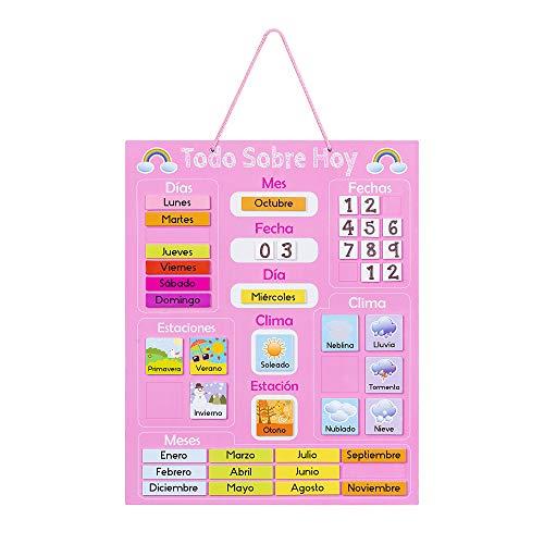 Navaris Calendario de Aprendizaje para niños - Tablero Educativo Montessori en español - Pizarra para Aprender días Meses Estaciones con 41 imanes