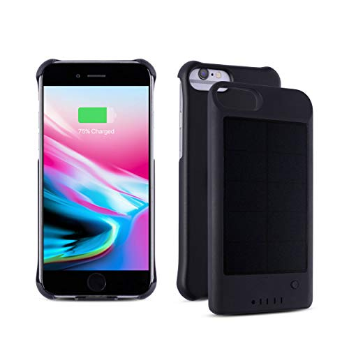 iPhone 6/7/8 Protective Case/Extended Battery Solar Powered Detachable Ultra-Slim Magnetic External Battery with Ultra-Fast Charging Port and Finger Ring/Stand Attached (Black)