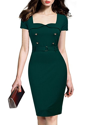 REPHYLLIS Women's Vintage Button Wear to Work Business Office Party Dress S Green
