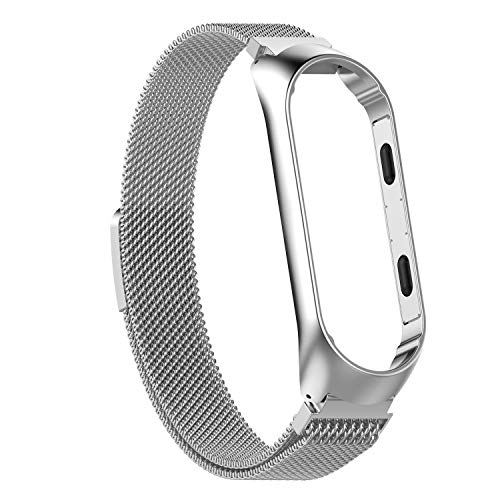 Epaal® Milanese Stainless Steel Magnetic Strap for Xiaomi Mi Band 4 / Mi Band 3 Loop Mesh (Silver)