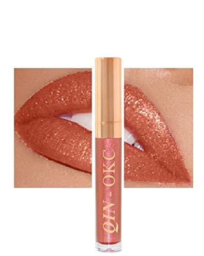 QIN - OKC Shimmer Liquid Lipstick Gloss - Long Lasting - Waterproof - Kiss proof - Super stay - High Shine Lip Stain - Glitter Lip gloss - 0.25 FL oz - (First love Gold Red) - Fashion Sense