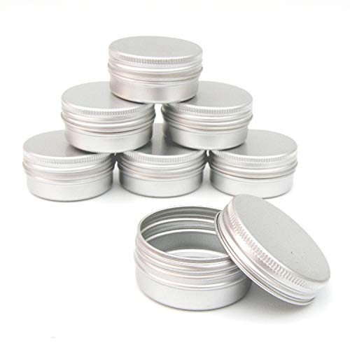 ZXF5 50x Aluminum Jar Pot Can Container for Nail Art Makeup Cosmetics Travel Creams Lip Balm Tattoos,Silver,15ml
