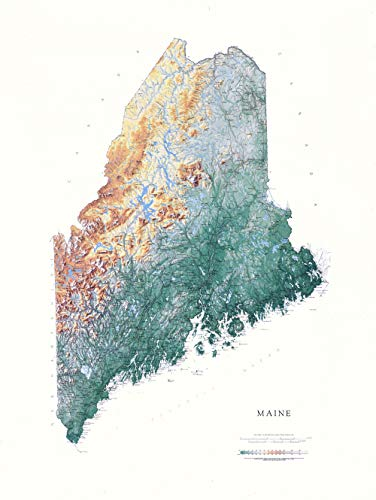 Raven Maps Maine Topographic Wall Map, Laminated Print
