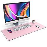 CSL Tischunterlage Schreibtischunterlage 90 x 40cm - Premium PU-Leder Schreibunterlage - zusätzliche Anti Rutsch Beschichtung - wasserdicht - XXL Mauspad für Büro u Home Office 900x400 mm Rosa