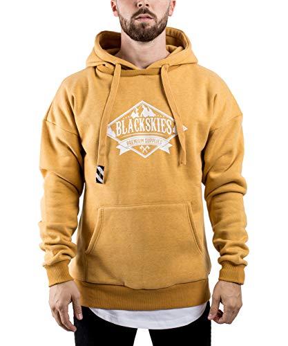 Blackskies Acid Wash Mens Hoodie | Long street wear fleece trui oversized sweater sweatshirt hood - Zwart