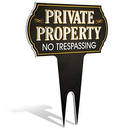 Signs Authority Metal Yard Sign - Private Property No Trespassing Sign - Durable Heavy Duty Dibond Aluminum - Protect Your Home, Safety and Privacy Warning Sign 15 X12