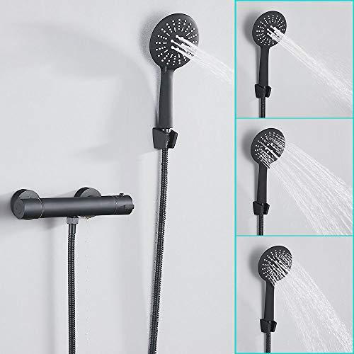 Columna de ducha empotrable, sistema de ducha de pared cuadrado de latón cromado sólido con alcachofa de ducha lluvia ducha de mano para baño