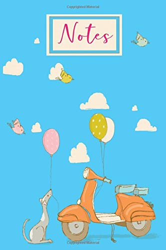 Notes: Blue Cute Girly design Lined Notebook Featuring a Dog With a Balloon and a Scooter