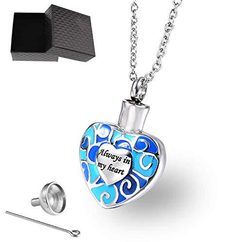 ZPEM hartvormige parfum fles blauwe crematie sieraden Urn hanger huisdier Memorial Keepsake kat hond as ketting
