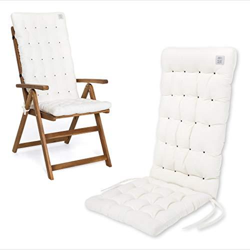 HAVE A SEAT Luxury | Gartenstuhlauflagen - Bequeme Hochlehner Polster Auflage, waschbar bei 95°C, Trockner geeignet, Sitzauflage für Gartenstuhl (1 Stück - 120x48x8 cm, Weiß)