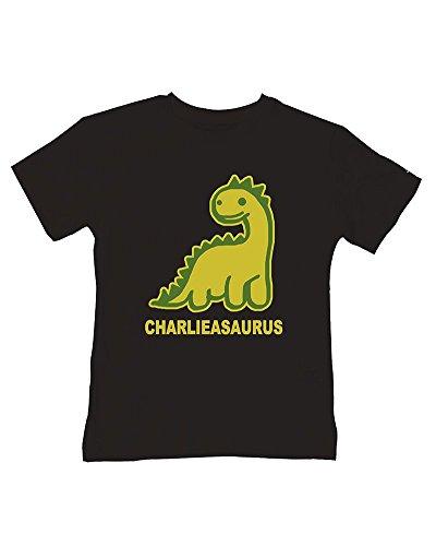 T-shirt à motif dinosaure personnalisé pour bébé garçon - Votre nom asaurus - E-mail le nom que vous voulez - Noir - 3-4 ans