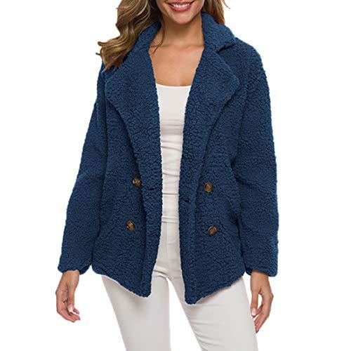 Yczx Women's Faux Fur Teddy Bear Jacket Fluffy Outwear Coat Classic Winter Warm Lapel Elegant Coats Outerwear Casual Open Front Faux Fleece Coat Oversized Teddy Jacket Cardigan Warm Winter M