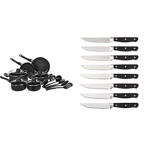 AmazonBasics - 15-teiliges Kochgeschirr mit Antihaftbeschichtung & Messerset, 8-teilig