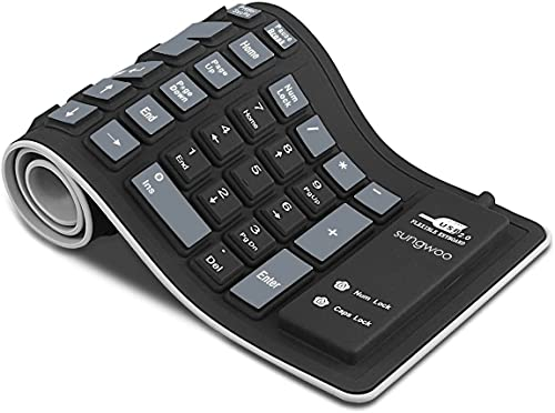 sungwoo Foldable Silicone Keyboard USB Wired Waterproof Rollup Keyboard for PC Notebook Laptop (Black+Grey)