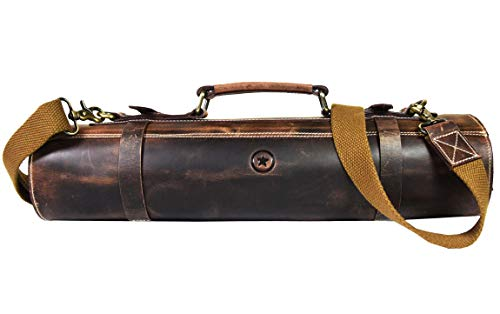 Leather Roll Knife Storage Bag | Elastic and Expandable 10 Pockets | Adjustable/Detachable Shoulder Strap | Travel-Friendly Chef Knife Case Roll By Aaron Leather Goods (Walnut)