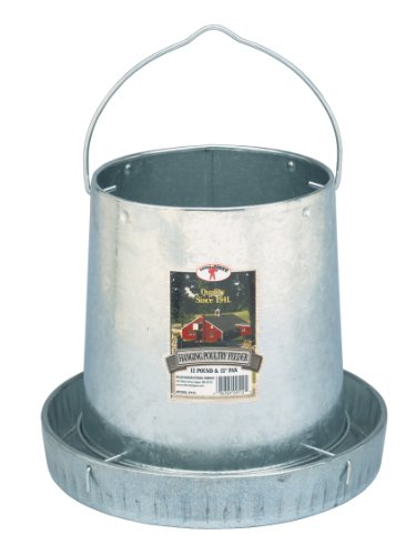 Little Giant Hanging Metal Poultry Feeder (12 Pound) Galvanized Steel Feed Container with Hanging Handle (Item No. 9112)