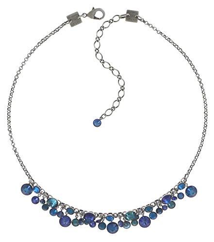 Konplott Waterfalls Kette für Damen   Exklusives Designer-Collier mit 26 Swarovski Steinen   Ketten-Größe verstellbar   Handgefertigter & limitierter Damen-Schmuck   Modeschmuck für Sie   Blau