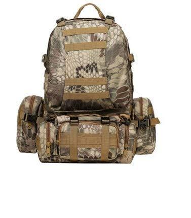 盛世汇众 Backpack 1000D nylon backpack outdoor camping hiking travel bag camouflage backpack 50L (color : Green Python)