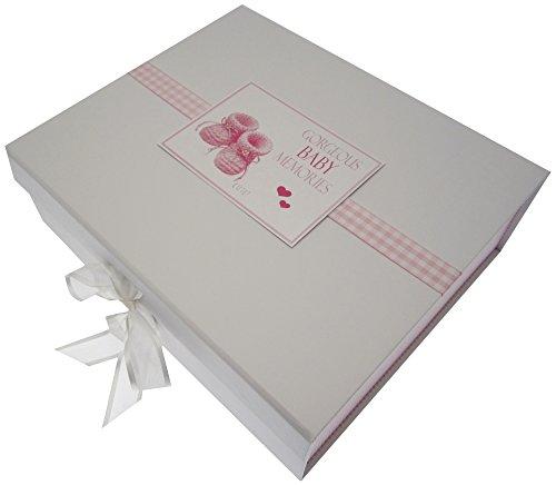White Cotton Cards Gorgeous Baby souvenirs, grande boîte souvenir, chaussons, Rose