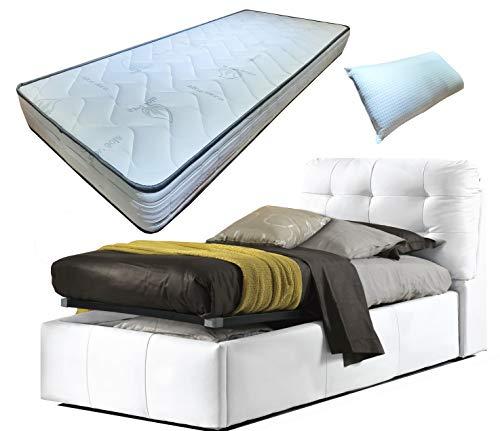 Cama individual de una plaza con caja de almacenamiento de piel sintética blanca acolchada + láminas de madera de haya + colchón con memoria de 19 cm + almohada de regalo