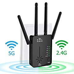 【Latest 1200Mbps WiFi Booster】--- Dual band technology can provide up to 300Mbps for 2.4GHz, up to 900Mbps for 5Ghz, and a total rate of 1200Mbps, which minimizes data loss. Latest technology eliminates dead spots, extends wireless network to hard-to...