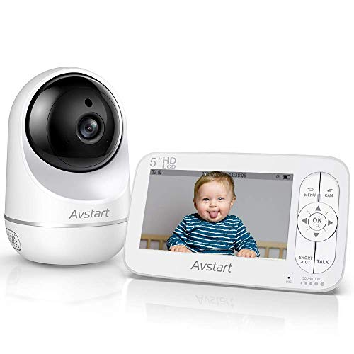 "Baby Monitor - AVSTART Video Baby Monitor with Camera and Audio, 5"" HD LCD Display, Pan/Tilt/Zoom, Instant Alert, Two-Way Audio,Thermal Monitor, 900ft Range, Night Vision, Lullabies, Ideal for New Mom Monitors"