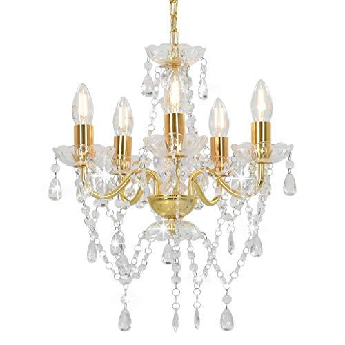 vidaXL Kroonluchter Kristallen Kralen Rond 5xE14 Goudkleurig Verlichting Lamp