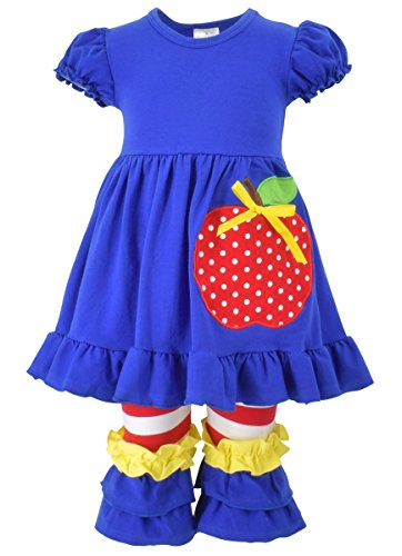 Unique Baby Girls Back to School Apple Tank Boutique Outfit (4T/M, Blue)