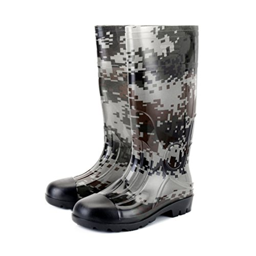Man Knee High Rubber Rainboots Camo Waterproof Rubber...