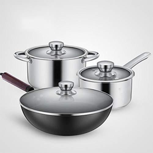 ROYWY Juego de 3 Ollas - Batería de cocina inoxidable,Con tapa de vidrio templado, mango firme,Se puede utilizar para varias fuentes de calor, incluida la cocina de inducción Sartenes freír,