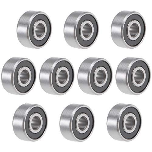 uxcell R2-2RS Deep Groove Ball Bearing 1/8-inchx3/8-inchx5/32-inch Sealed GCr15 Bearings 10pcs