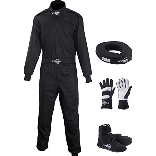 Speedway Motors 1-Pc Black Racing Suit Combo, 2XL, Shoe Size 11.5