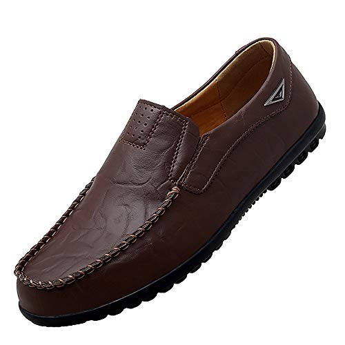 Go Tour Men's Premium Genuine Leather Casual Slip on Loafers Breathable Driving Shoes Fashion Slipper A Dark Brown 14/52