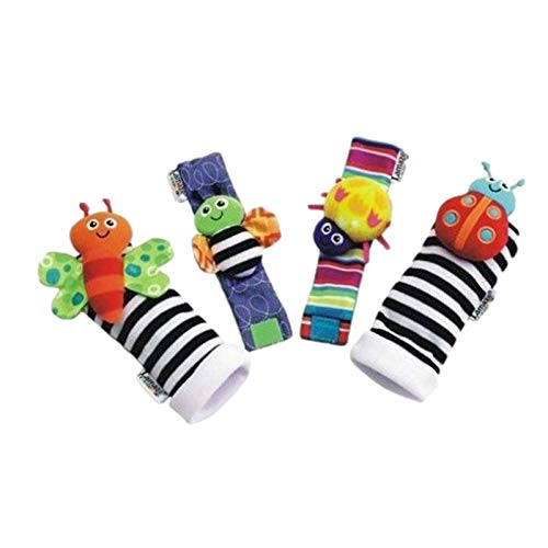 4PCS Sonajeros para bebés, Sonajeros de muñeca de Terciopelo Lindo para Animales y Buscador de pies, Baby Socks Toy Children Development Sensory Toy, Juguetes de Peluches de Desarrollo para bebés