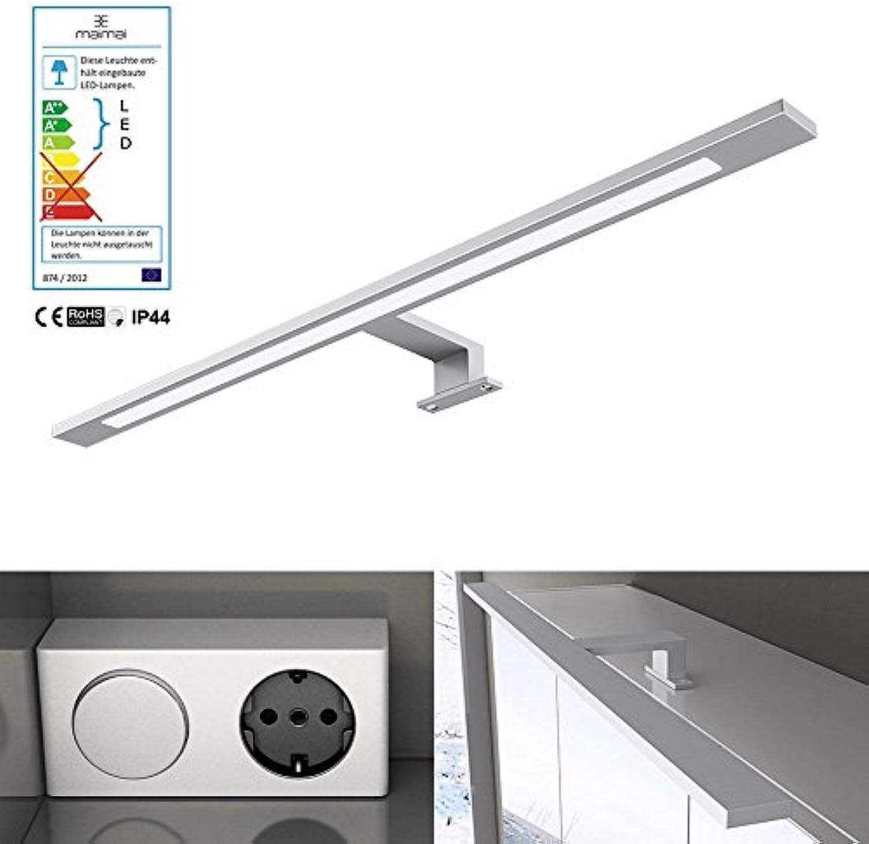 Breite  60cm 9W LED Spiegellampe, Trafo mit Schalter und Steckdose, 230V, 9W, 750 Lumen, universalwei (5000 K), Energieklasse A