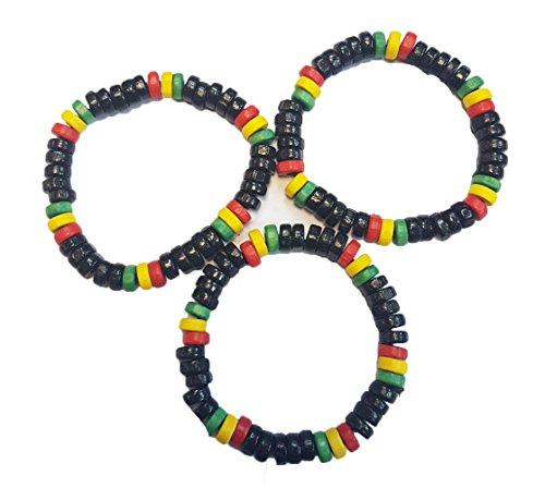 Wigwam Juego de 3 pulseras de madera Rasta Bob Marley